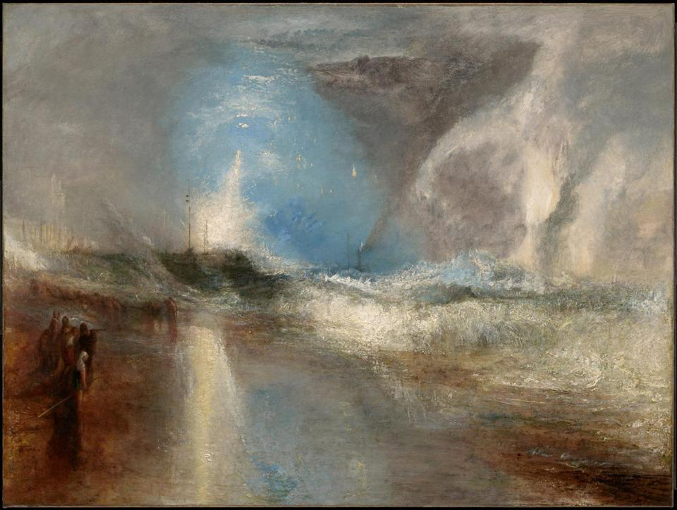 Turner and Constable: The Inhabited Landscape, on view December 15, 2018-March 10, 2019 at Clark Art Institute, Williamstown, MA. Caption: Joseph Mallord William Turner (English, 1775-1851), Rockets and Blue Lights (Close at Hand) to Warn Steamboats of Shoal Water, 1840. Oil on canvas, 36 1/4 x 48 1/8 in. Clark Art Institute, 1955.37.