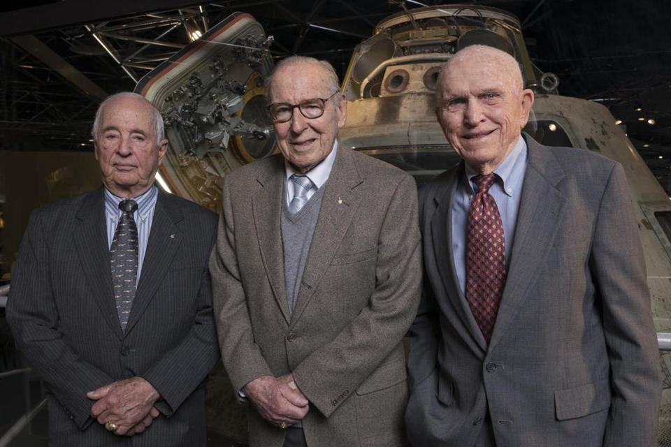 The Apollo 8 crew reunited earlier this year at the Museum of Science and Industry in Chicago. From left: Anders, Lovell, and Borman. — Photograph: Chicago Museum of Science and Industry/Associated Press.