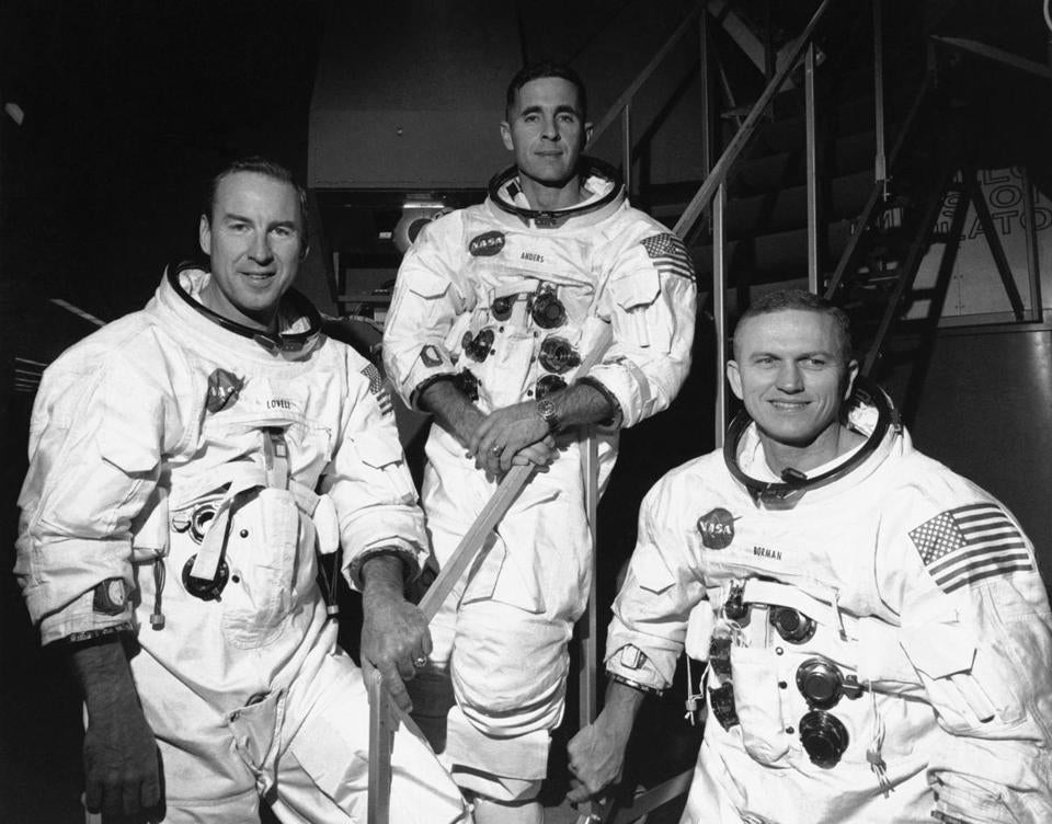 The Apollo 8 crew: James Lovell (left), Bill Anders, and mission commander Frank Borman. — Photograph: File/Associated Press.