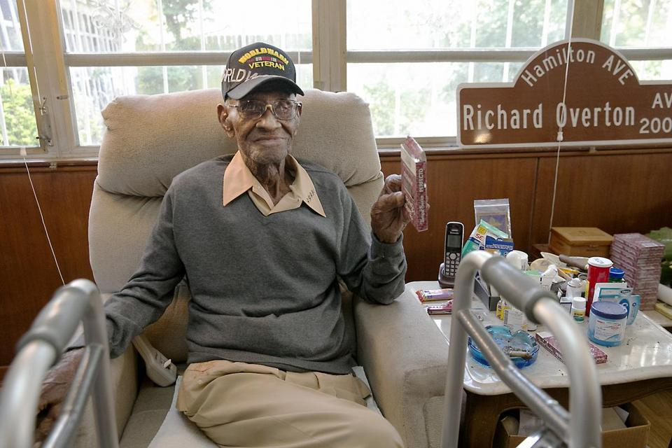 Mr. Overton, the grandson of a Tennessee slave, served in the Pacific Theater from 1942 to 1945.
