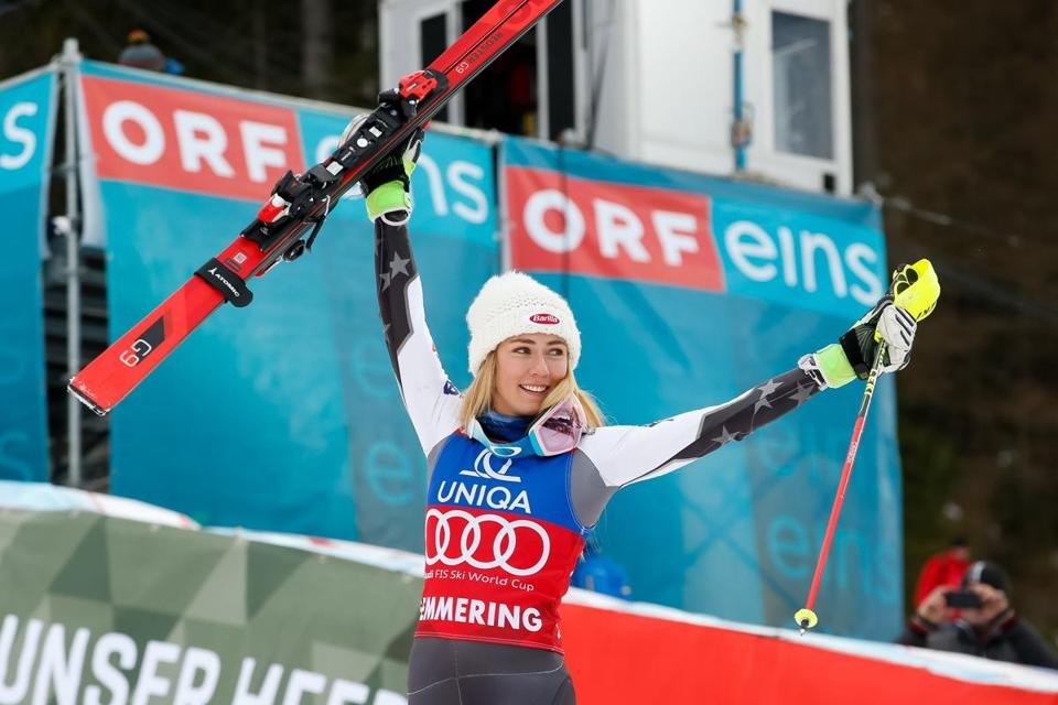 SEMMERING, AUSTRIA - DECEMBER 29: Mikaela Shiffrin of USA takes 1st place during the Audi FIS Alpine Ski World Cup Women's Slalom on December 29, 2018 in Semmering Austria. (Photo by Christophe Pallot/Agence Zoom/Getty Images)