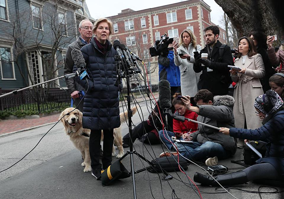 Senator Elizabeth Warren wore a puffy coat while announcing she launched an exploratory committee.