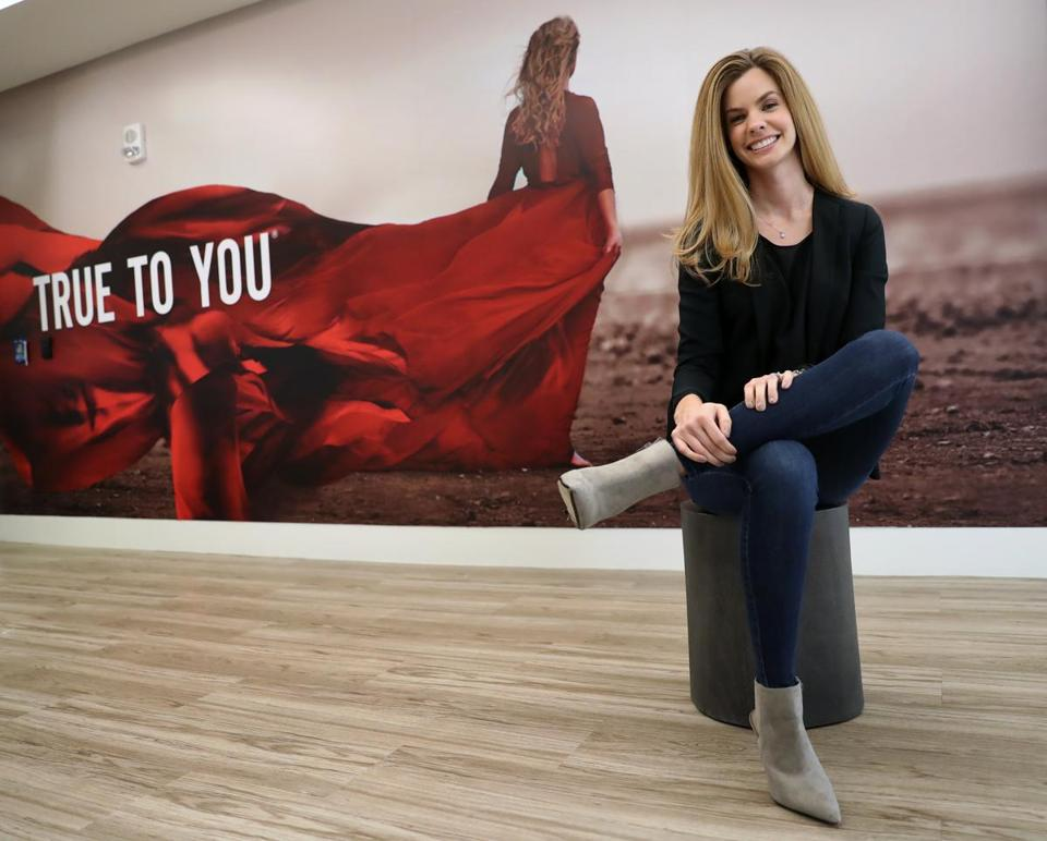 BOSTON, MA - 1/02/2019: Sarah Hodge (cq) has been with True Fit since the beginning, when clothing racks and shelves filled the windowless office. Today she's risen from intern to brand ambassador, overseeing True Fit's entire collective, which has grown to include over 17,000 global apparel and footwear brands. (David L Ryan/Globe Staff ) SECTION: BUSINESS TOPIC onthejob