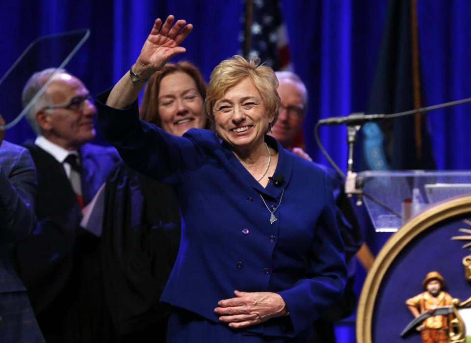 Governor Janet Mills acknowledged applause after taking the oath of office Wednesday at the Augusta Civic Center in Augusta, Maine.