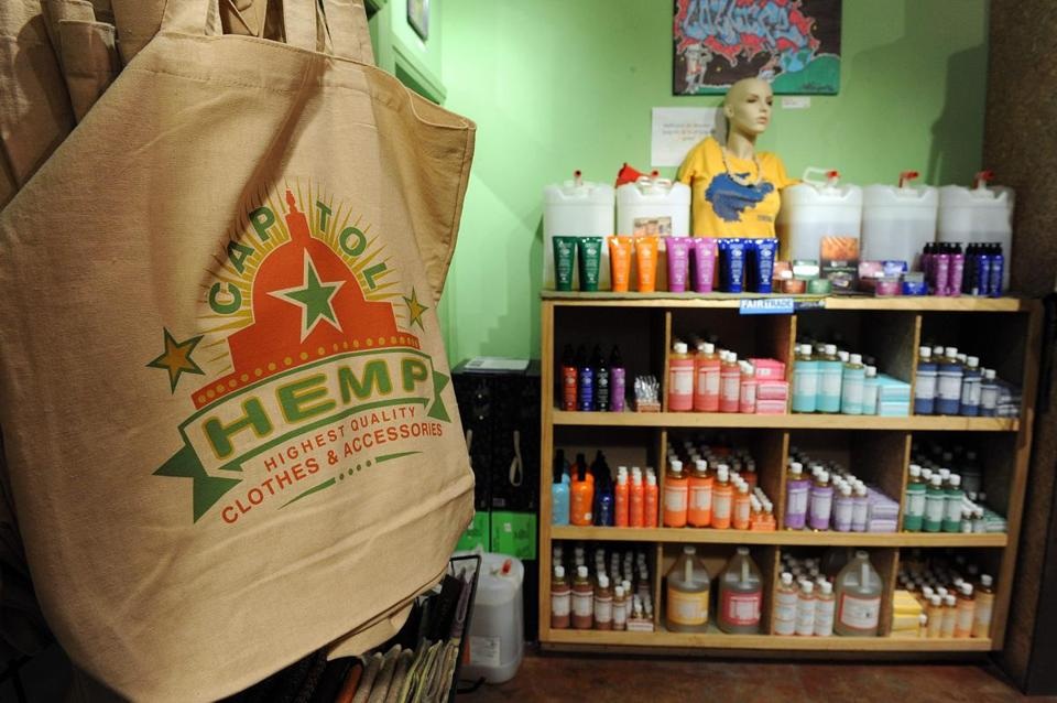 "(FILES) In this file photo taken on May 20, 2010, shopping bags and bath products (R) are among the many hemp products for sale at the ""Capitol Hemp"" store in the Adams Morgan neighborhood of Washington, DC. - The US Congress on December 12, 2018, approved the legalization of large-scale hemp cultivation and its removal from a list of controlled substances. ""This is the culmination of a lot of work by a number of us here in Washington but really the victory is for the growers, processors, manufacturers and consumers who stand to benefit from this growing market place,"" US Senate Majority Leader Mitch McConnell said. (Photo by TIM SLOAN / AFP)TIM SLOAN/AFP/Getty Images"