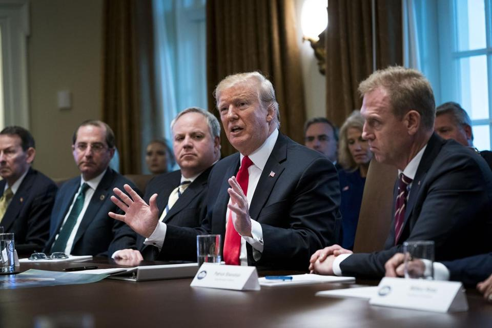 President Donald Trump meets with his Cabinet at the White House in Washington, Jan. 2, 2019. For over an hour and a half, President Trump spoke on a variety of topics, including the border wall, Syria, his unpopularity abroad and Mitt Romney. Not all of it was accurate. (Doug Mills/The New York Times)