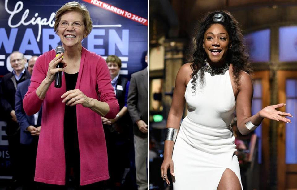 Senator Elizabeth Warren (left) and comedian/actress Tiffany Haddish.