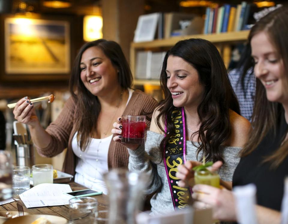 Meghan Habershaw (center) celebrated her 30th birthday with friends at Bartaco.