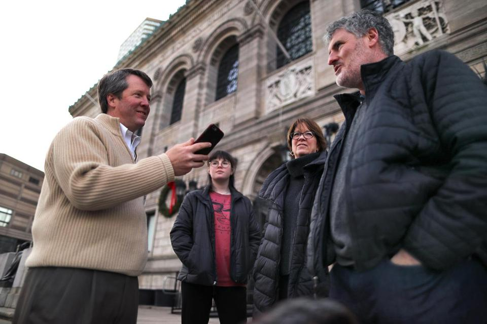 In Copley Square, Age Friendly Ventures founder Tim Driver (left) interviewed people age 50 and over to record their views of the age-friendliness of their city or neighborhood.