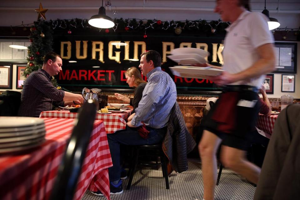 From left: Sean Cunningham, Jennifer Carp, and Joe Tormo dined at Durgin-Park in its final days.