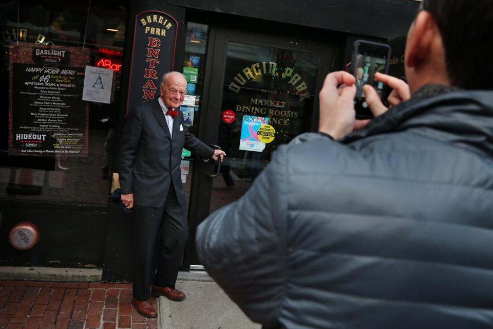 Michael Robbins, pictured at Durgin-Park last week, said he's been dining at the Faneuil Hall restaurant since the 1950s.