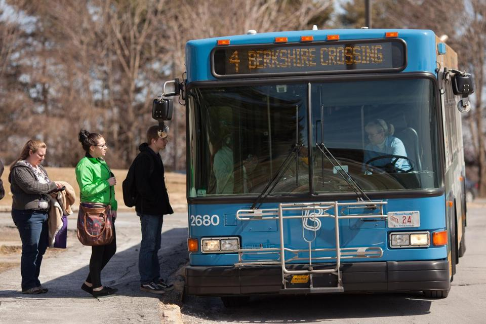 Passengers boarded a Berkshire Regional Transit Authority bus at Berkshire Community College in Pittsfield.