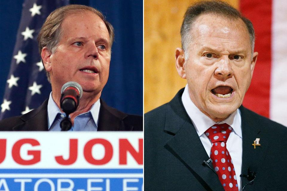 Democrat Doug Jones (left) beat Republican Roy Moore in 2017 for a US Senate seat from Alabama.