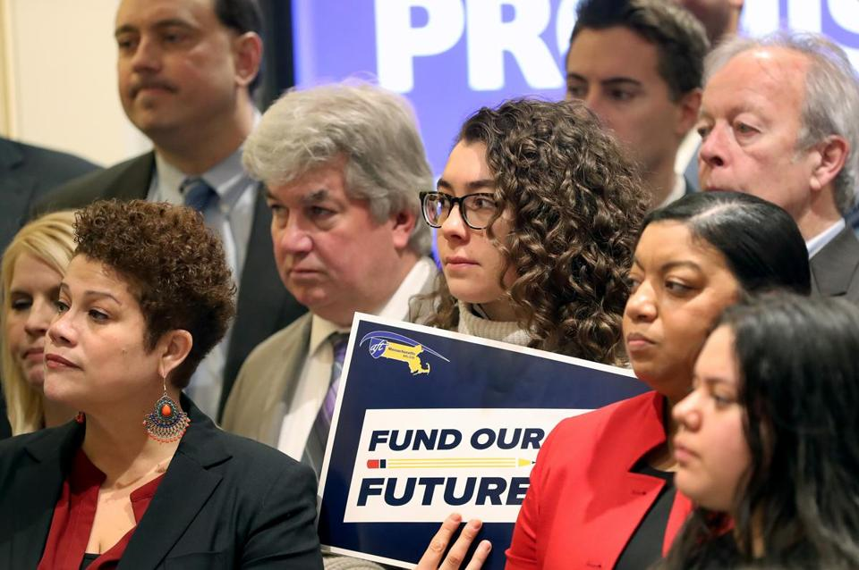 BOSTON, MA - 1/09/2019: At the Massachusetts State House, the next political battle on Beacon Hill is on school funding formula and why there's renewed hope that the Legislation might take long overdue action on it this session. Boston Mayor Marty Walsh and state Senator Sonia Chand-Diaz were at a press conference along with members of the Massachusetts Teachers Association, the Massachusetts Association of School Committees, Boston's NAACP chapter, members of the Foundation Budget Review Commission, public school teachers, parents and students, and a number of other groups. (David L Ryan/Globe Staff ) SECTION: METRO TOPIC 10schools