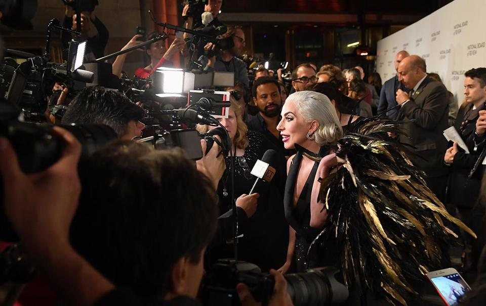 Lady Gaga spoke to members of the media outside the 2019 National Board of Review Gala at Cipriani 42nd Street  Tuesday in New York City.