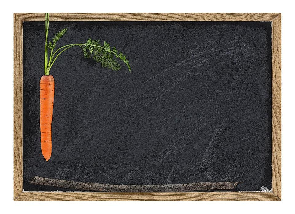 carrot, stick and blackboard - school motivation or reward and punishment concept,