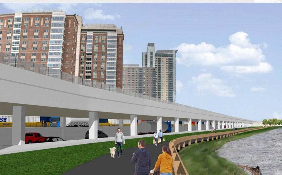 A conceptual rendering of Soldiers Field Road in a new viaduct above the Massachusetts Turnpike along the Charles River in Allston, presented publicly in November.