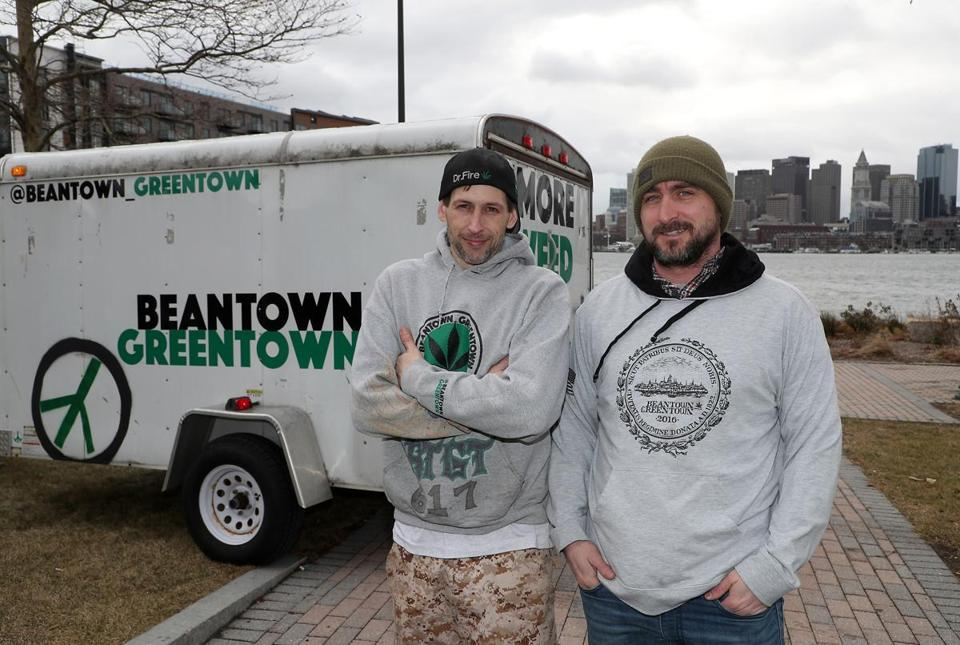 Andrew Mutty and Keith Laham are co-owners of Beantown Greentown, a marijuana cultivation and clothing company.