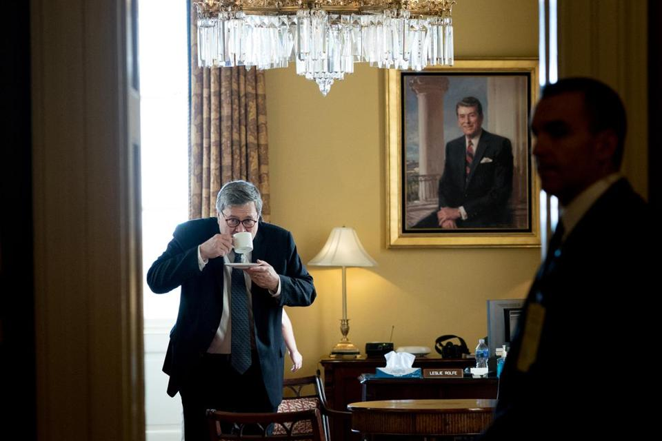 Attorney general nominee William Barr visited Senate Majority Leader Mitch McConnell's office Thursday.