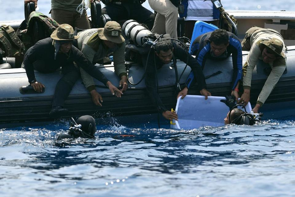Divers searched for the black box from crashed Lion Air flight JT 610 in November. The Indonesian Navy has found the device and the remains of some of the 189 people who died in the Oct. 29 incident.