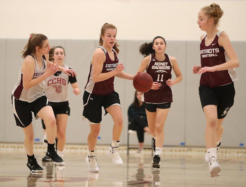 Concord MA 1/14/19 Concord-Carlisle girls' basketball sophomore standout Kori Baruch leading the fast break during practice at Concord-Carlisle High School (photo by Matthew J. Lee/Globe staff) topic: reporter: