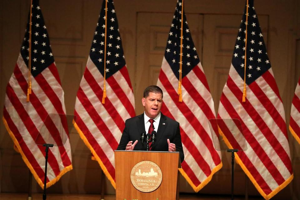 Boston MA 1/15/19 Boston Mayor Martin J. Walsh giving his State of the City address at Symphony Hall. (photo by Matthew J. Lee/Globe staff) topic: reporter: