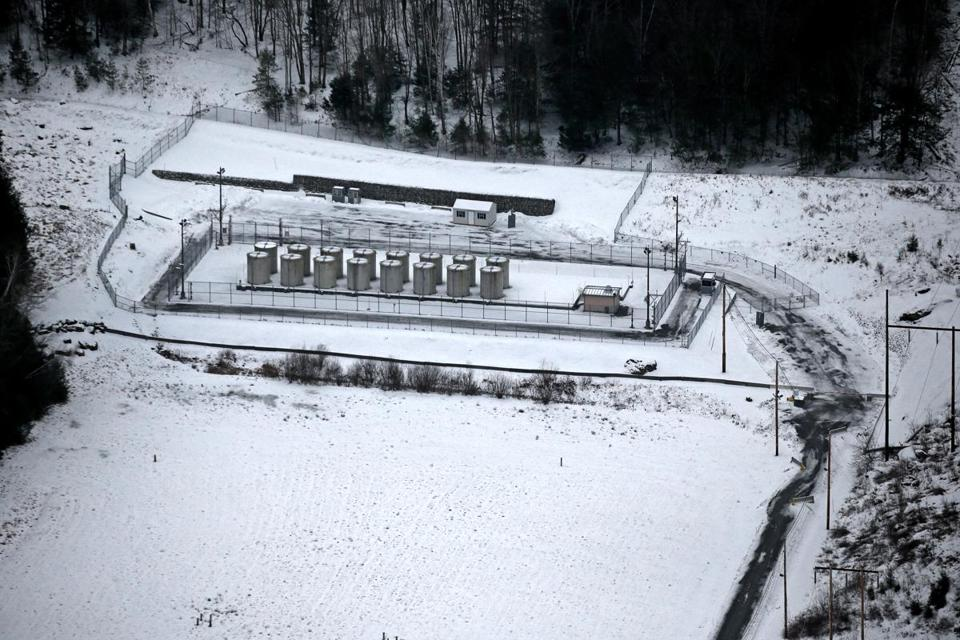 An aerial view of the decommissioned Yankee Rowe Nuclear Power Station site.