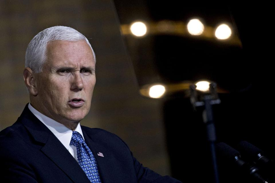 "Vice President Mike Pence, seen here in October, told diplomats at the State Department on Wednesday that ""the caliphate has crumbled, and ISIS has been defeated."""