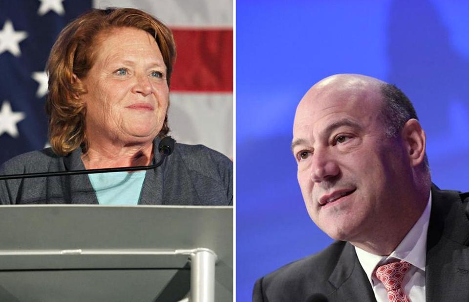Heidi Heitkamp, a former Democratic senator from North Dakota (left) and Gary Cohn, President Trump's former top economic adviser (right) will be two of 10 new fellows at Harvard's Institute of Politics.