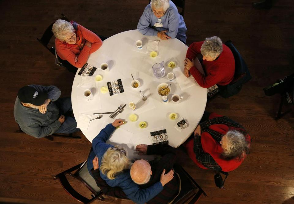 Dover-Foxcroft, ME, 01/16/2019 -- Seniors attend a weekly community lunch at The Commons. Dover-Foxcroft, like nearly all Maine towns, is aging rapidly. But, unlike many other communities, they're planning aggressively for a silver-haired future. (Jessica Rinaldi/Globe Staff) Topic: 20maine Reporter: