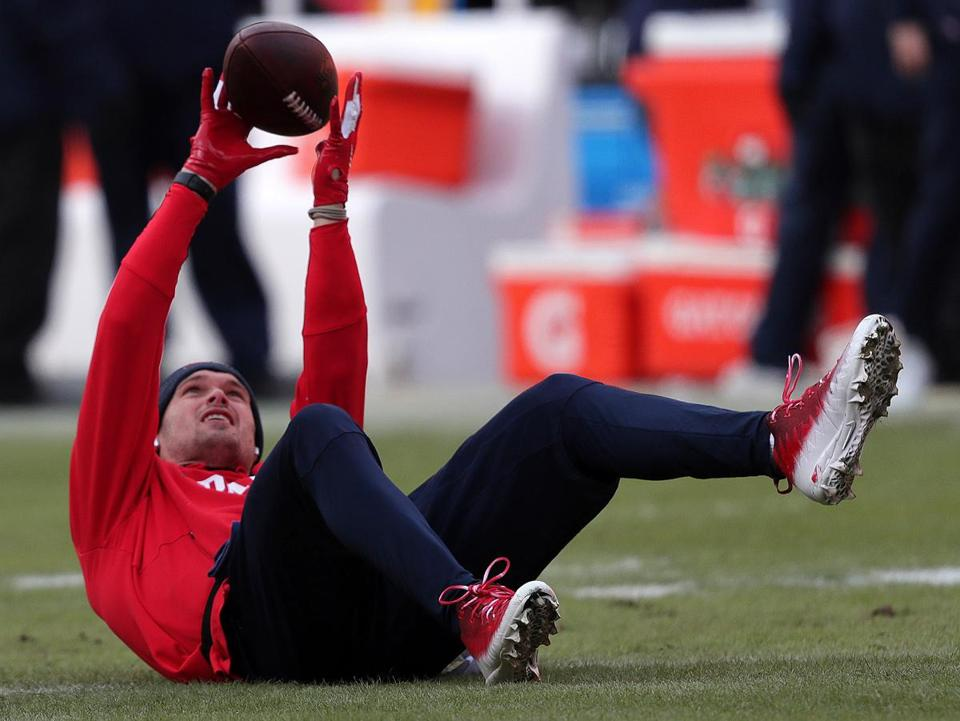Kansas City, MO - 1/20/2019 - New England Patriots wide receiver Chris Hogan (15) goes through his pre game workout. The Kansas City Chiefs host the New England Patriots in the AFC Championship game at Arrowhead stadium. - (Barry Chin/Globe Staff), Section: Sports, Reporter: James M. McBride, Topic: 21Patriots-Chiefs, LOID: 8.5.157043654.