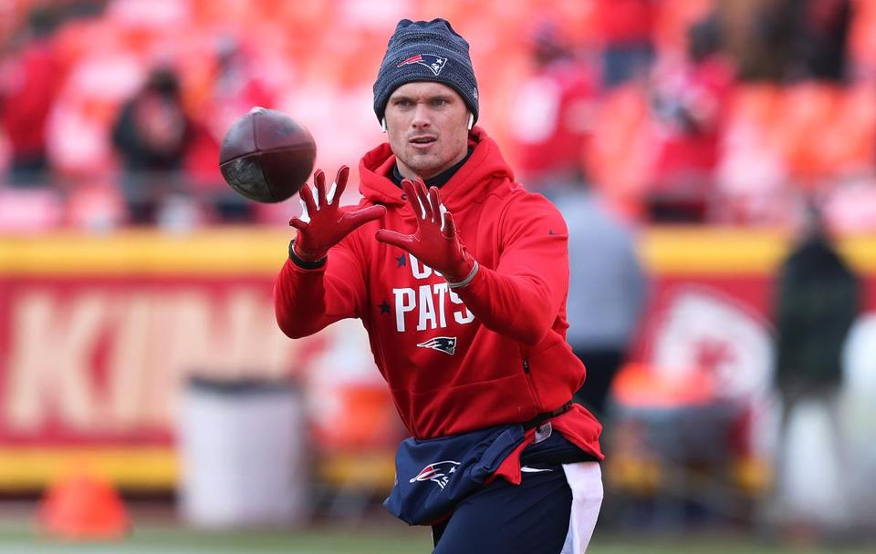 01-20-19: Kansas City, MO: Patriots WR Chris Hogan was out warming up a couple of hours before kickoff. The New England Patriots visited the Kansas City Chiefs for the AFC Championship Game at Arrowhead Stadium. (Jim Davis /Globe Staff)