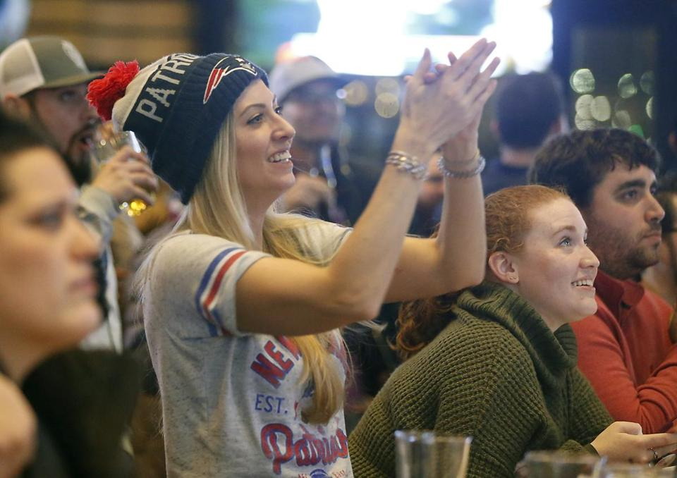 Samantha Via cheered on the Patriots at Tony C's in Somerville.