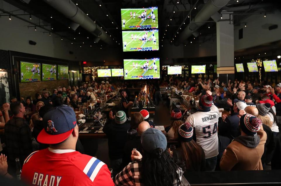 Patriots fans filled Tony C's in Somerville to watch the Patriots game.