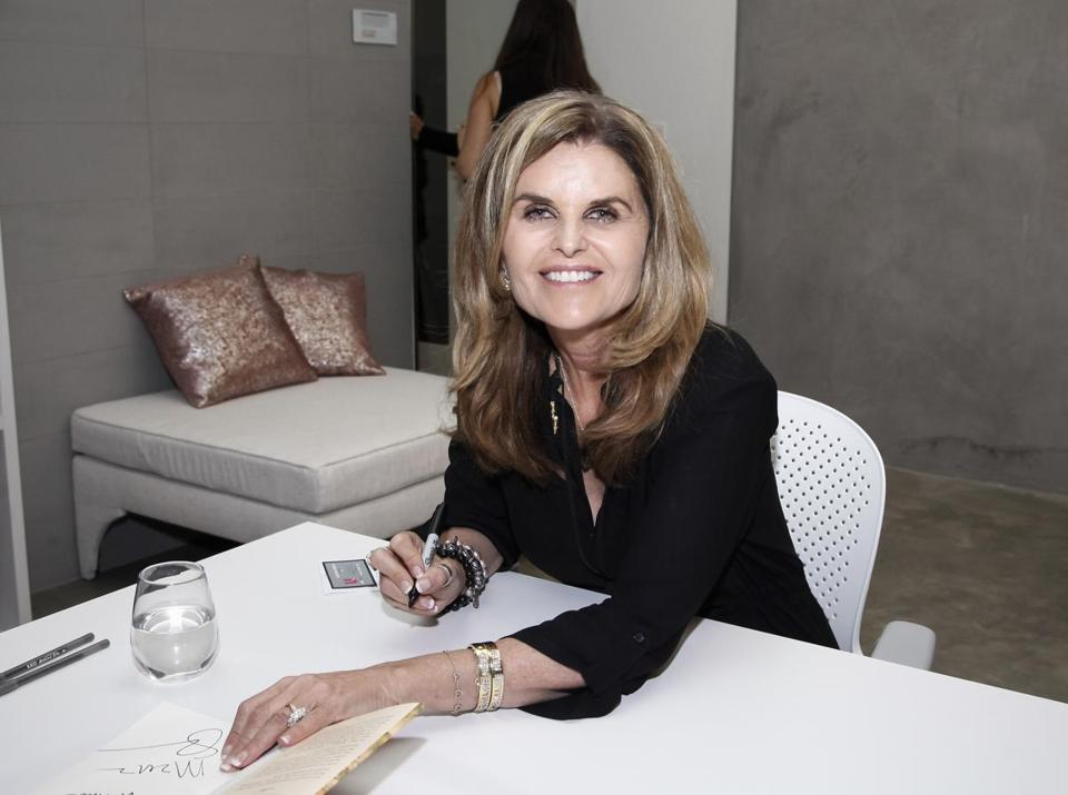 LOS ANGELES, CALIFORNIA - JANUARY 15: Maria Shriver signs copies of her book 'I've Been Thinking' at The Riveter on January 15, 2019 in Los Angeles, California. (Photo by Tibrina Hobson/Getty Images)