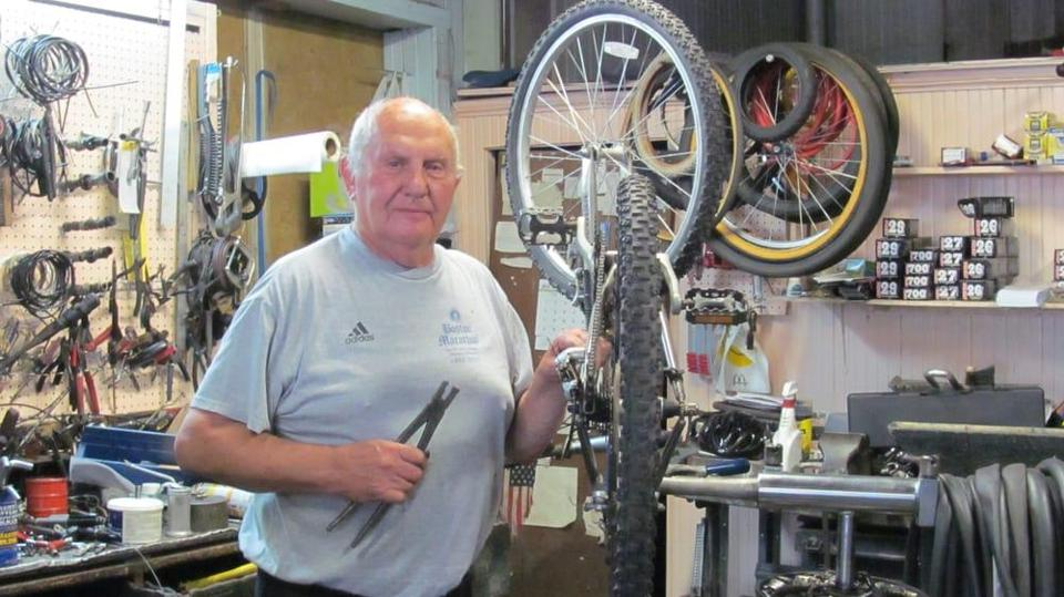 Charlie Federico in the South Boston bike shop his father opened in 1938.