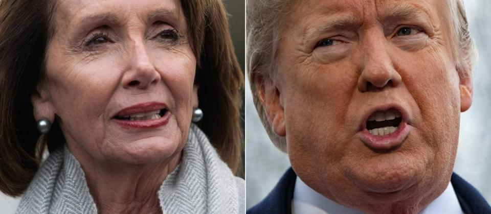 "(COMBO) This combination of file pictures created on January 17, 2019 shows a photo taken on January 9, 2019, of US Speaker of the House Nancy Pelosi , in Washington, DC and a photo taken on January 14, 2019, of US President Donald Trump in Washington, DC. - President Donald Trump insisted January 23, 2019 that his State of the Union speech next week will take place in the chamber of the lower house of Congress, regardless of the Democratic speaker's attempt to disinvite him. The spat about where the annual political set-piece will be staged is a sideshow to the struggle between the White House and Democrats in Congress over the now 33-day partial government shutdown.Trump wrote to Speaker Nancy Pelosi, saying: ""It would be so very sad for our Country if the State of the Union were not delivered on time, on schedule, and very importantly, on location!"" (Photos by SAUL LOEB and Jim WATSON / AFP)SAUL LOEB,JIM WATSON/AFP/Getty Images"
