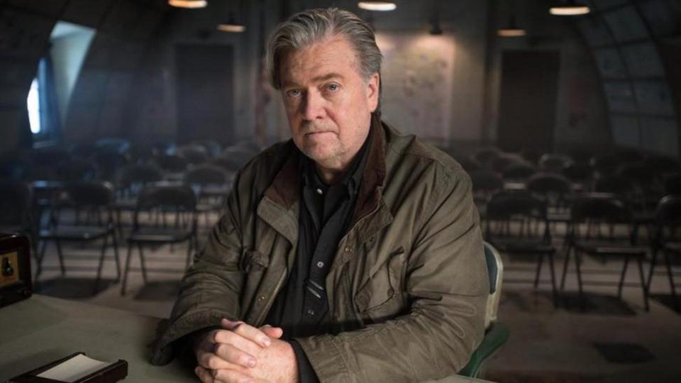 "Steve Bannon in the documentary ""American Dharma."""