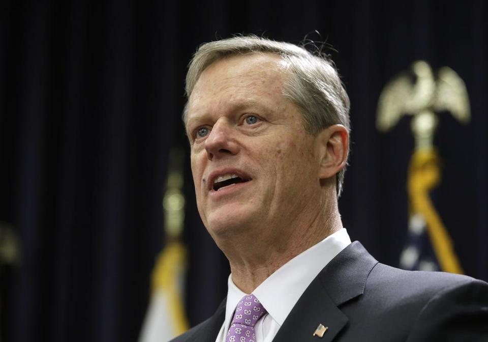 Massachusetts Gov. Charlie Baker faces reporters as he unveils his state budget proposal during a news conference, Wednesday, Jan. 23, 2019, at the Statehouse, in Boston. During remarks Baker spoke about his administration's plan for revamping the state's public school funding formula, including targeted spending increases for low-income and special education students. (AP Photo/Steven Senne)
