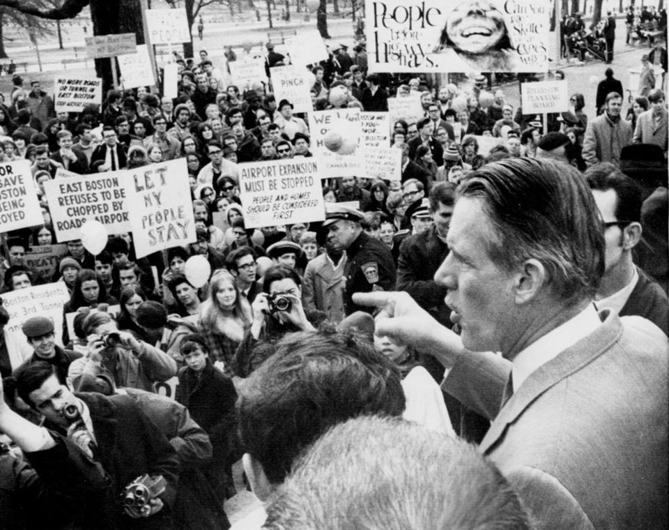Governor Francis W. Sargent spoke to Inner Belt dissenters during a Jan. 25, 1969, protest outside the State House.