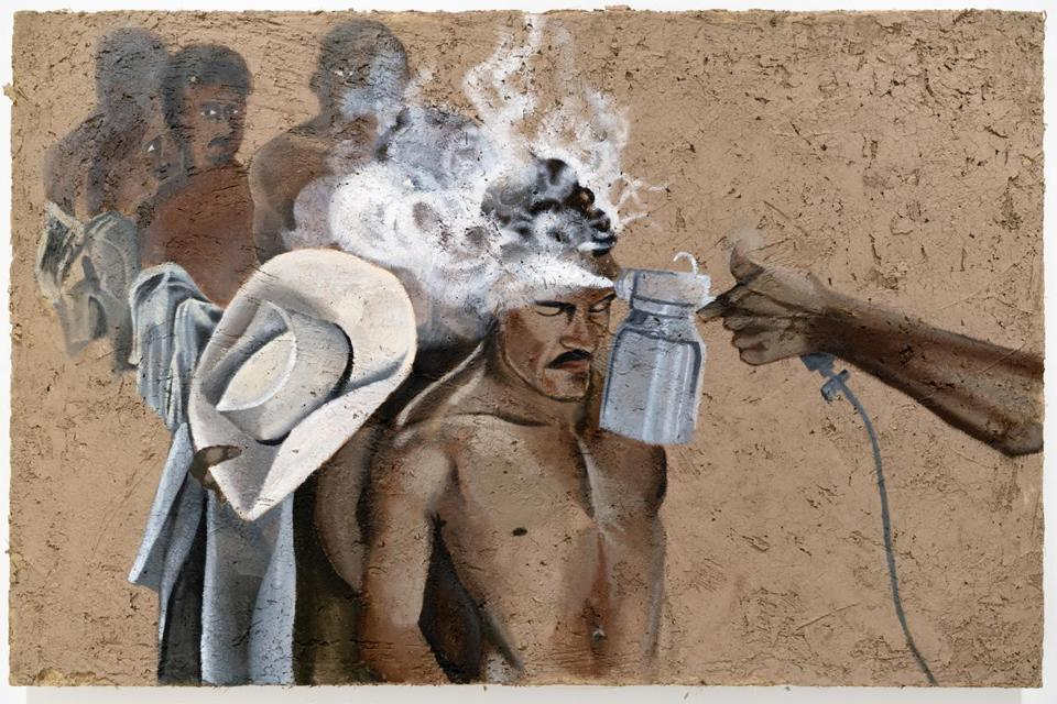 Rafa Esparza's exhibition, staring at the sun, 2019 at the MASS MoCA. Pictured: Rafa Esparza, Border Wash: Mexican immigrant laborers sprayed with DDT at processing center in Hidalgo,Texas-after Leonard Nadel, 1956, 2019 (detail) Acrylic on adobe panel (local dirt, horse dung, hay, Hoosic River water, chain-link fence, plywood)