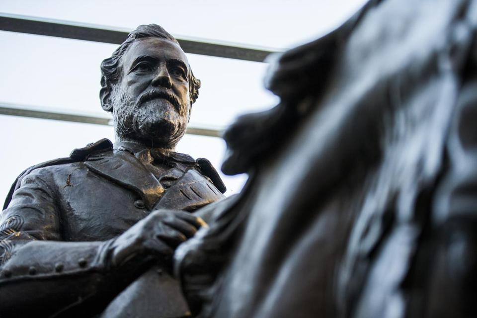 Few people have seen what became of Alexander Phimister Proctor's statue of Robert E. Lee since its removal from the park formerly known as Lee Park, where it stood for over 80 years until it's removal in Sept. 2017. Shortly before Christmas, on Dec. 20, 2018, The Dallas Morning News got a behind-the-scenes look the secure storage area where the statue of the Confederate general is being kept at Hensley Field, the former Naval Air Station on the west side of Mountain Creek Lake in Dallas. The statue is being kept there until its future is decided. (Ashley Landis/The Dallas Morning News via AP)