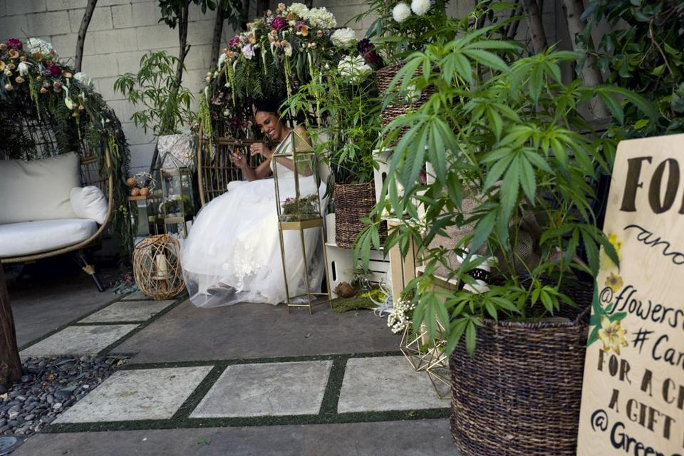 A model poses for a photo wearing a designer wedding dress at the Cannabis Wedding Expo in Los Angeles on Saturday, Jan. 26, 2019. (AP Photo/Richard Vogel)