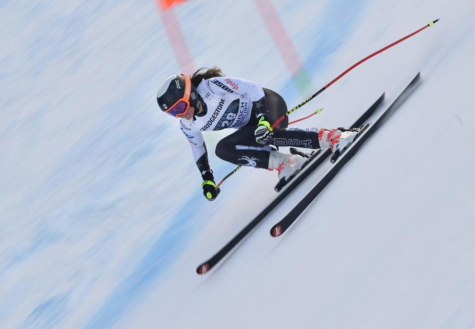 GARMISCH PARTENKIRCHEN, GERMANY - JANUARY 25: Alice Merryweather of USA in action during the Audi FIS Alpine Ski World Cup Women's Downhill Training on January 25, 2019 in Garmisch Partenkirchen, Germany. (Photo by Alain Grosclaude/Agence Zoom/Getty Images)