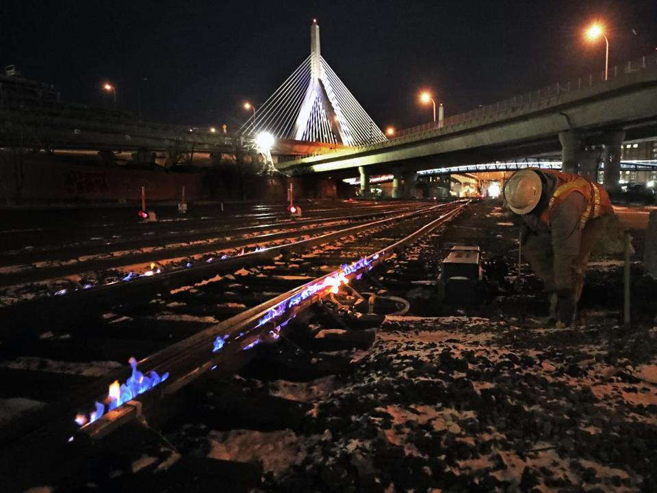 Keolis employee Mark Britton, roadmaster, adjusted the gas for the switch heaters on the tracks outside North Station in Boston around 4 a.m. Thursday.