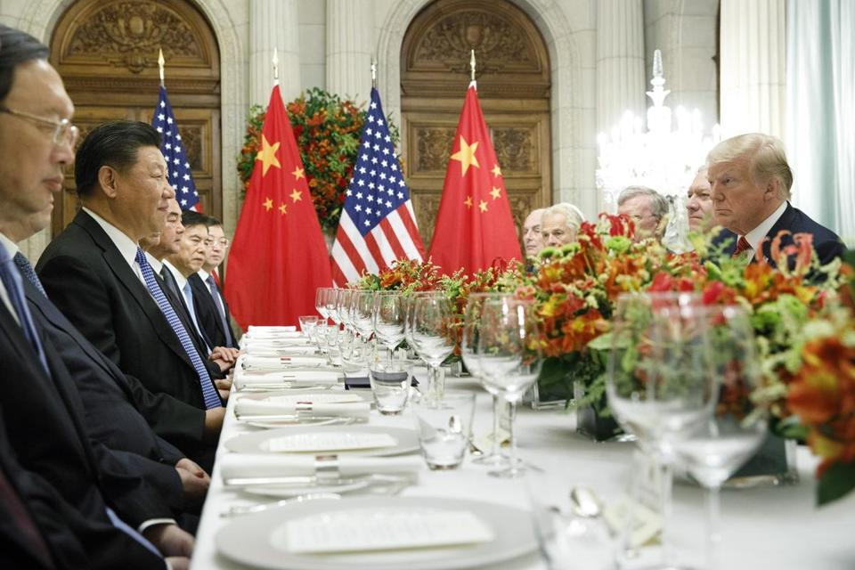 FILE -- President Donald Trump and President Xi Jinping of China, participate in a bilateral meeting during the G20 Summit in Buenos Aires, Argentina, Dec. 1, 2018. Technology experts worry that blocking the export of AI to other countries, or tying it up in red tape, will help AI industries flourish in those nations — China, in particular — and compete with American companies. (Tom Brenner/The New York Times)