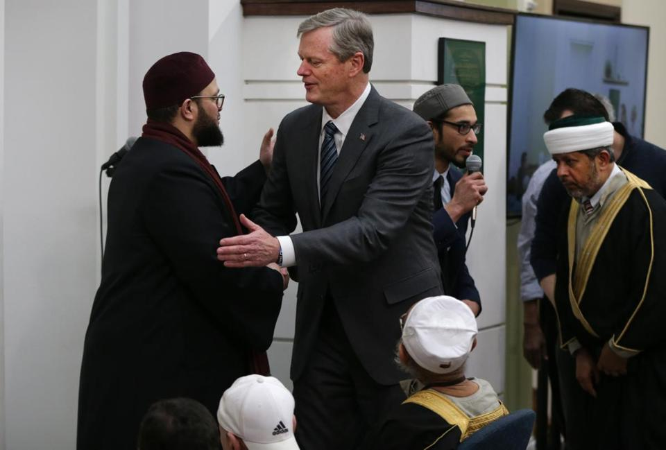 Shaykh Yasir Fahmy greeted Governor Charlie Baker at the Islamic Society of Boston Cultural Center.