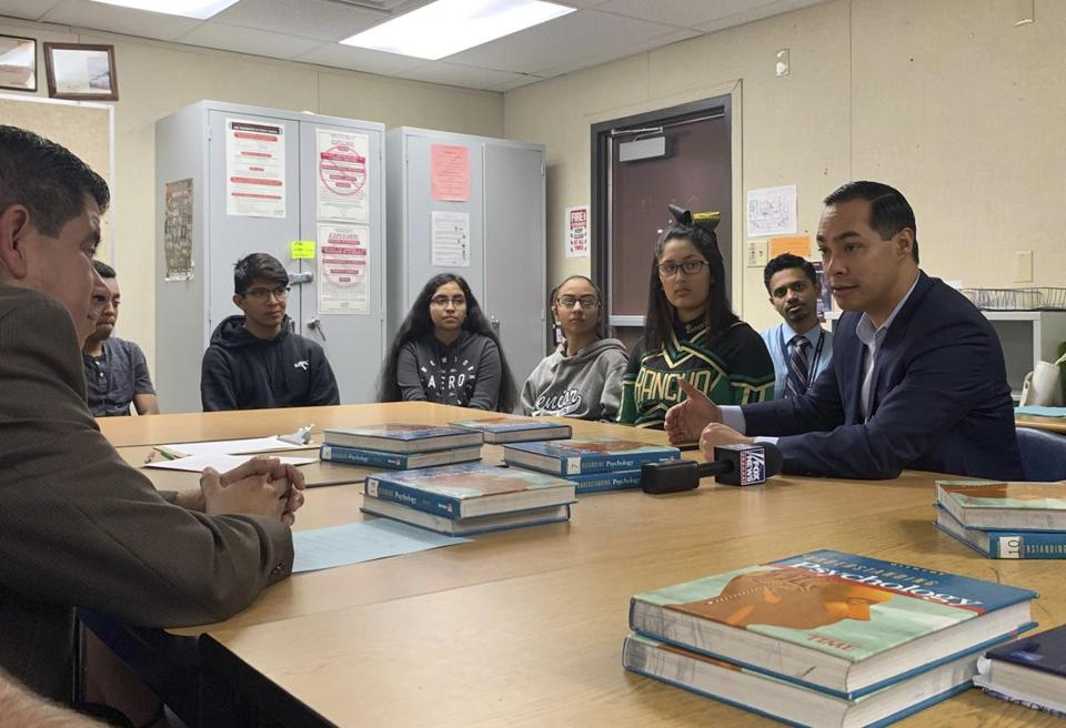 Former Housing and Urban Development secretary Julian Castro took part in a roundtable with Latino voters.