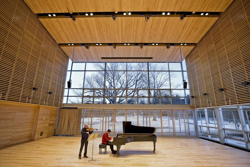 "This ""first lookÓ at Tanglewood's new Linde Center for Music and Learning, designed by William Rawn Associates Architects and opening June 2019, shows BSO violist Michael Zaretsky and pianist Yang Bao during January 28's acoustical tests in Studio E, the largest of the four-building complex."