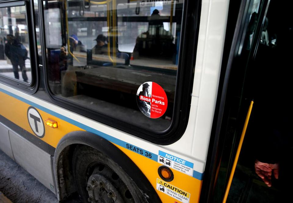 MBTA buses now have stickers on them honoring civil rights activist Rosa Parks. But the bus system disproportionately fails low-income people — largely people of color and immigrants — whose livelihoods depend on it.